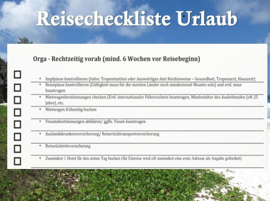 Reisecheckliste Urlaub - Planung vor dem Urlaub